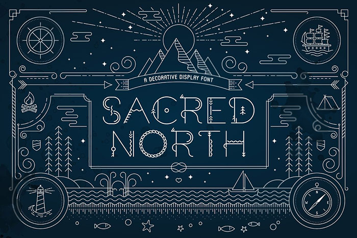 Sacred North Display Font + Extras