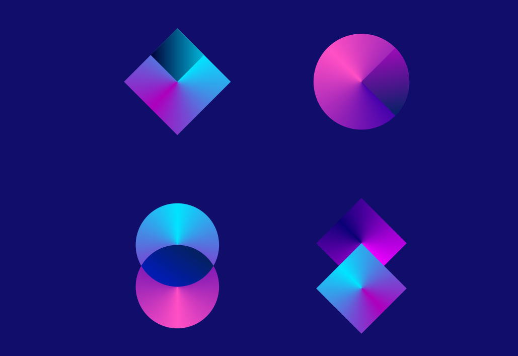 2012 logo design trends & complete logo maker: Geometric shapes with tapered gradients