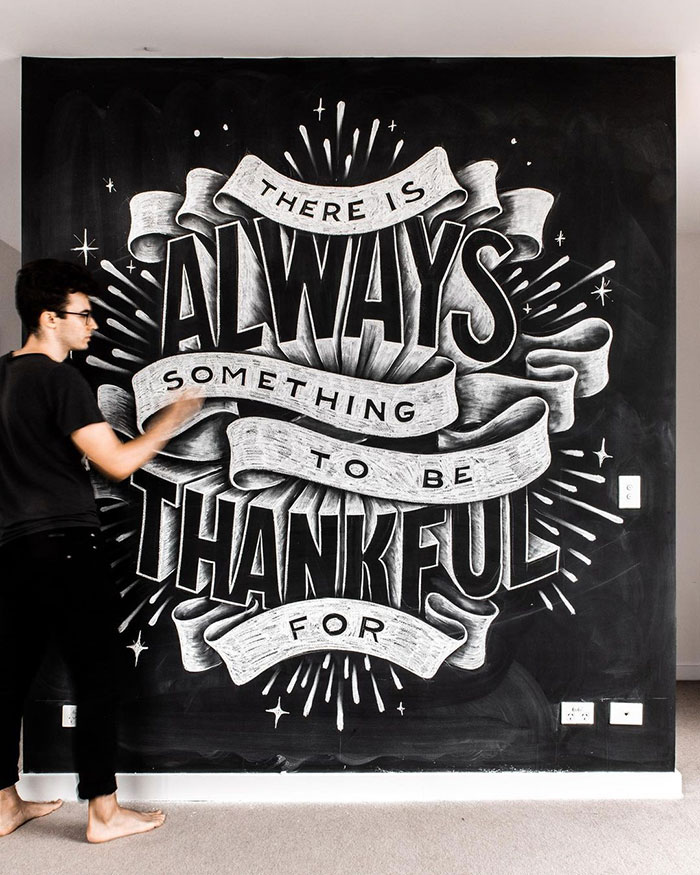 There is always something to be thankful for - chalkboard lettering