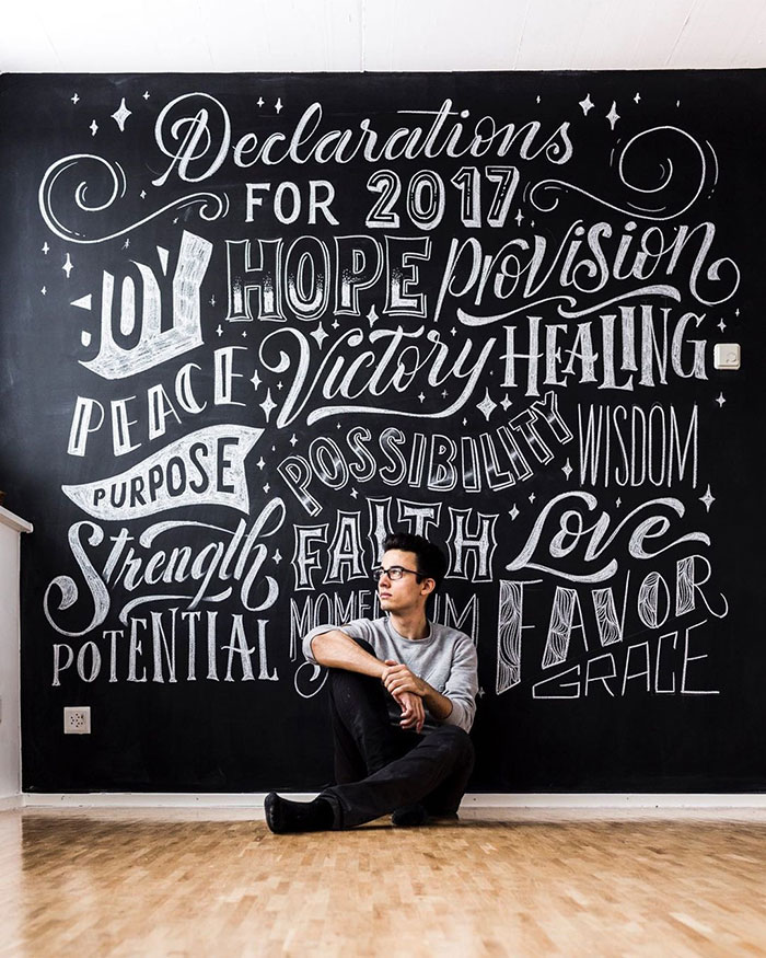 2017 Declarations, Faith, Grace, Possibility, Peace, Victory, Healing... - chalkboard lettering