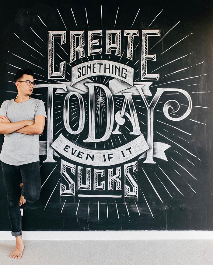 Create something today even if it sucks - chalkboard lettering