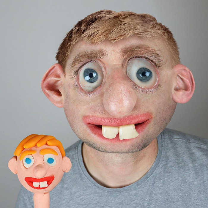 human clay with two big teeth into realistic portrait Photoshop
