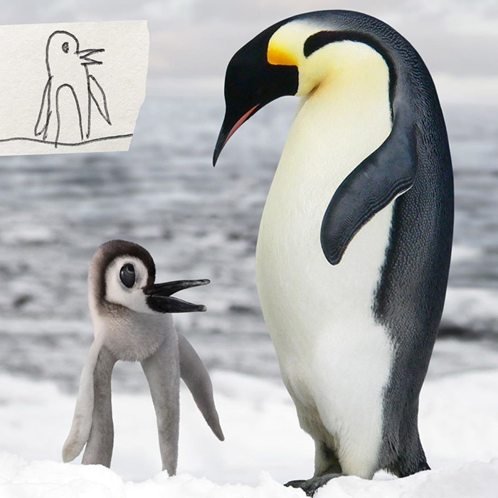 small penguin Photoshop kids drawings