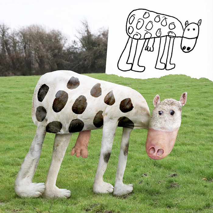 funny cow Photoshop kids drawings