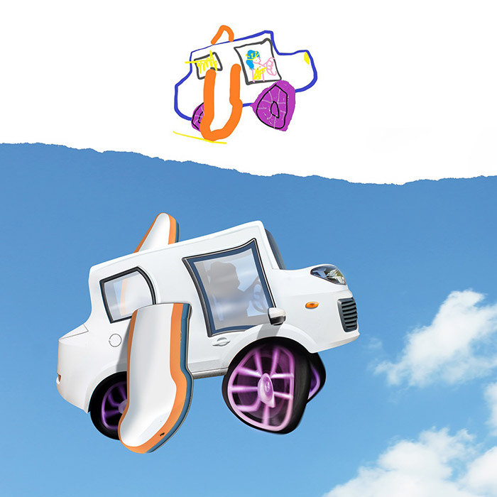 flying white car with wings Photoshop