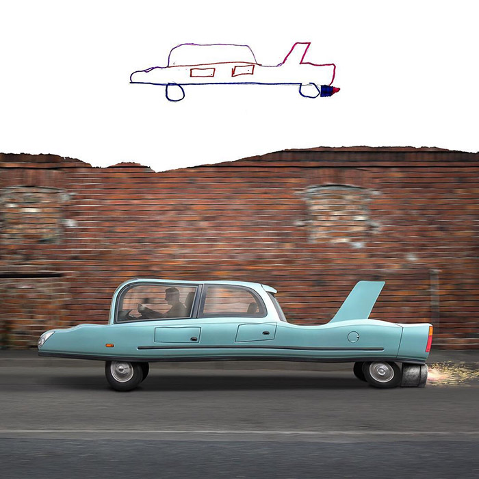 vintage car with turbo boost Photoshop kids drawings