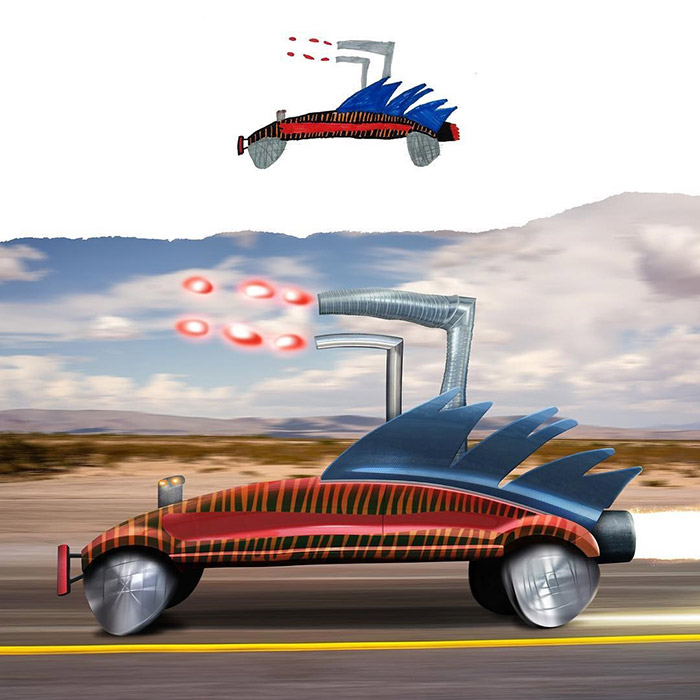 bizarre car with spikes and flare on top kids drawings Photoshop