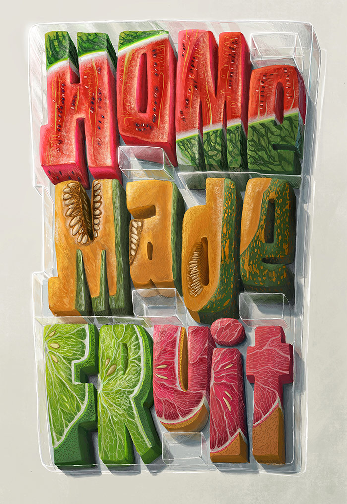 Home made fruit - 3d typography