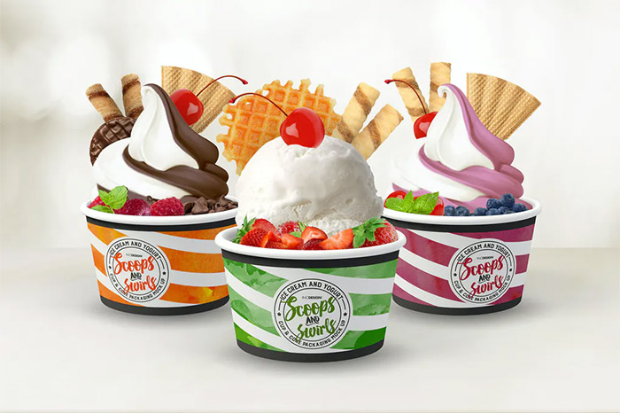 Ice Cream or Yogurt Cup and Cone Packaging Mock Up