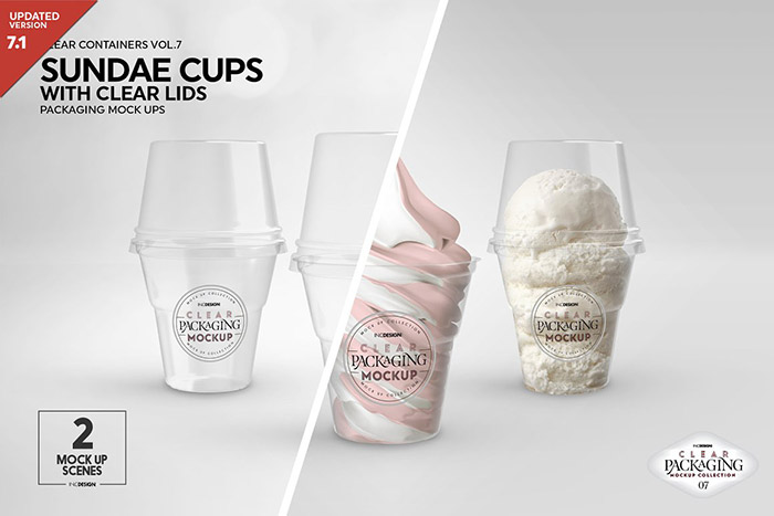 Clear Sundae Cups with Lids Mockup