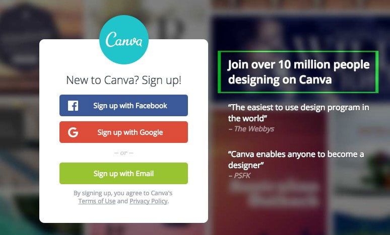 Canva Social Proof On Home Page